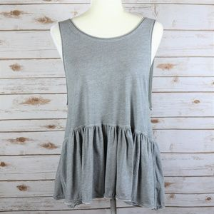 WE the Free People Grey Open Back Ruffle Top XS
